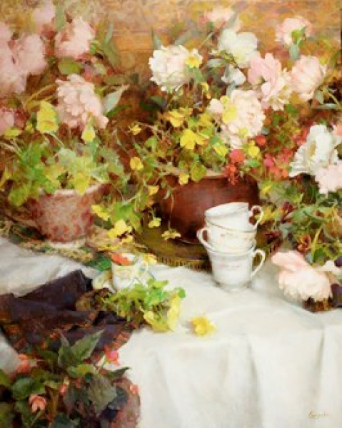 Spring Teacups by Nancy Guzik
