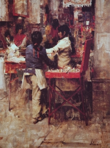 Indian Market, lithograph, Richard Schmid